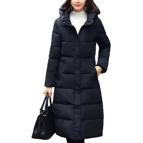 BAISNOW レディースコート 綿入りのコート 厚手 膝下コート 大きいサイズ スリムコート 女性 保温 冬 (M, ブラック)