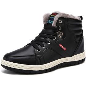 Schuhchan スノーブーツ 防水 防寒靴 スノーシューズ メンズ 防滑 ウィンターブーツ アウトドアシューズ 雪靴 黑 26.5cm