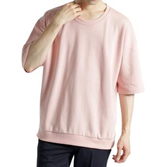 (モノマート) MONO-MART ドロップショルダー カラーリング サマー スウェット ライトオンス 半袖 ゆる シルエット MODE メンズ ピンク フリーサイズ