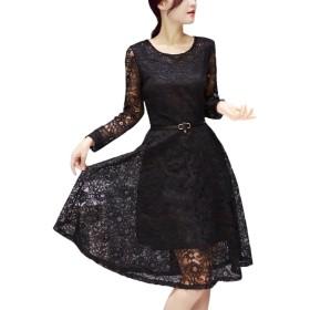 [ルナー ベリー] 花柄 総レース ワンピース 長袖 ベルト付き ドレス レディース 413 (S, ブラック) シフォン スカート ベルト 女子 女性 婦人 女の子 結婚式 ワンピ 礼服 413 (S, 黒)