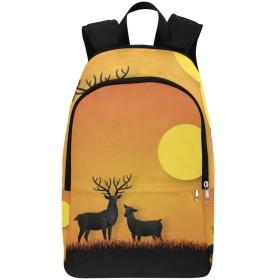 CFHYJ バックパック 鹿や太陽 大容量 軽量 撥水加工 防水 ビジネスリュック メンズ 男女兼用 通勤 通学 出張 旅行 ラップトップ Pcバッグ アウトドア