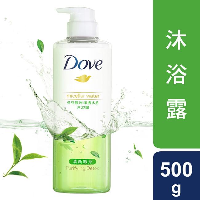 多芬微米淨透水感沐浴露-清新綠茶500G