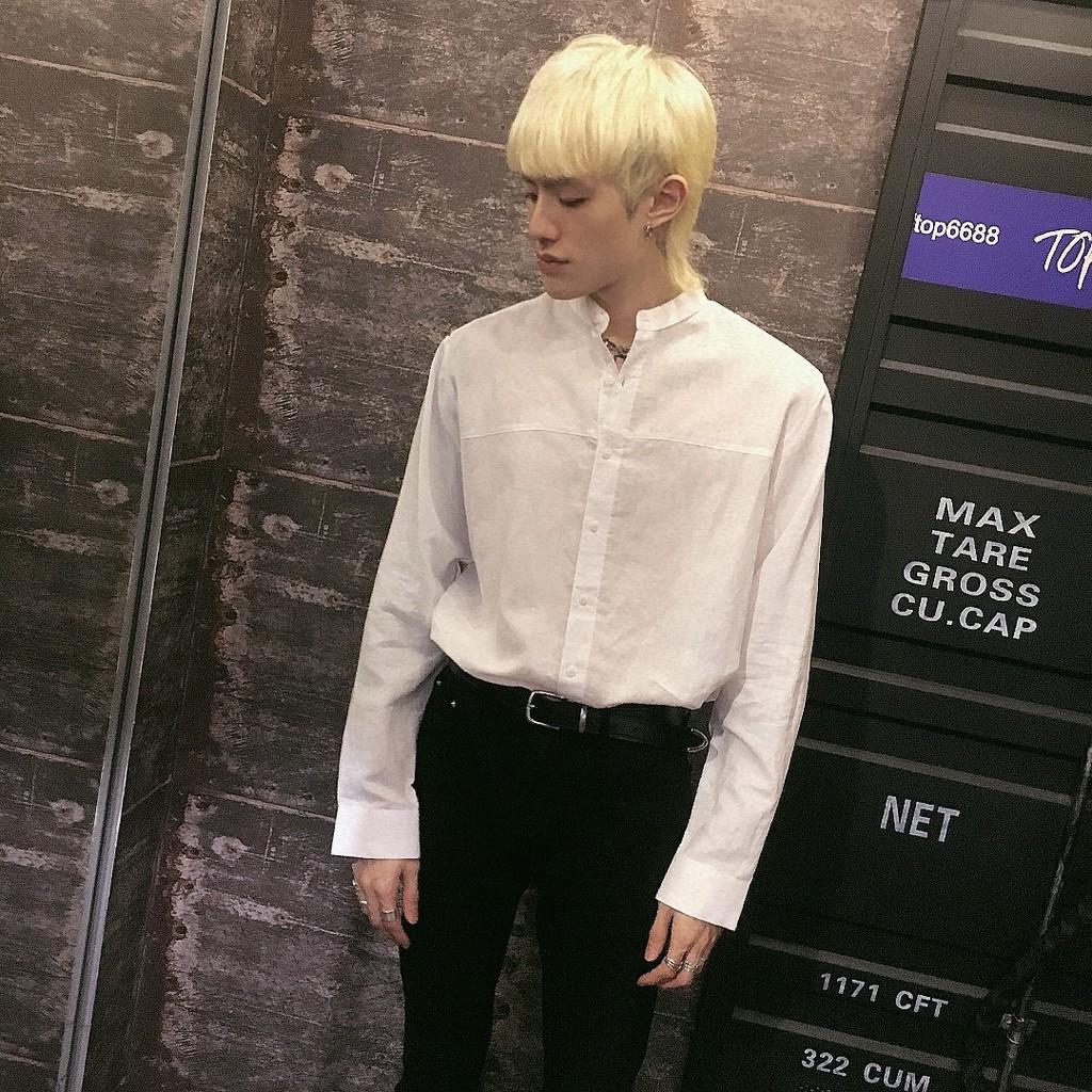【現貨】正韓 麻料前車線中山領襯衫 D636 TOP_Korea