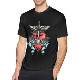Tシャツ 半袖 ボン・ジョヴィ メンズ 丸襟 夏 トップス 快適 ファッション 質感 オーバーサイズ