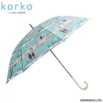 korko(コルコ) 雨傘【korko(コルコ)】(手開き長傘/軽量カーボン骨/約200g/超撥水/シリコンの滑り止め付)【森とクマ/58】