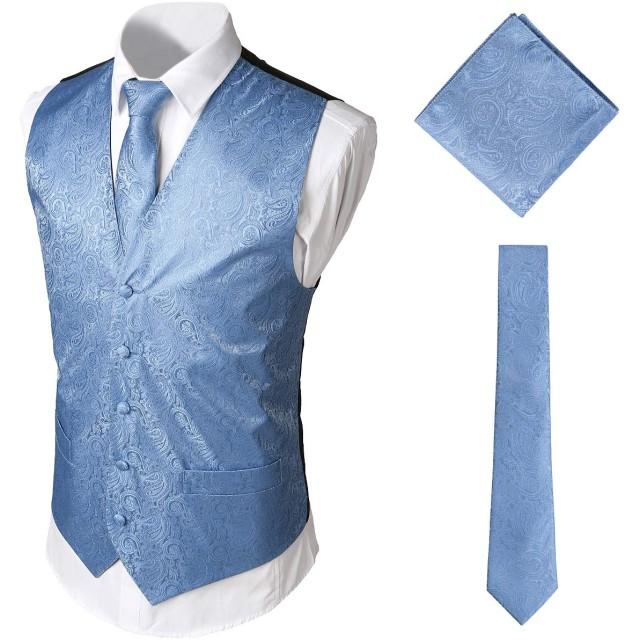 WHATLEES メンズ スーツ生地 ベスト ネクタイ ハンカチ 3点セット Vネック 水色 上品 尾錠付き キレイめ 大きいサイズBA0213-Blue-S