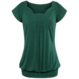 DAISUKI  レディース tシャツ 半袖 カットソー 夏 トップス シンプ ル 無地 ゆったり かわいい 大きいサイズ (S, 緑)