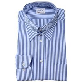 ワイシャツ メンズ長袖(ドレスシャツ)タブカラー ブルー 80番手双糸 軽井沢シャツ [A10KZZT27] スリム型