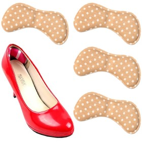 ZooooM 4枚セット 隙間 調節 かかと パット インソール インナー クッション 男 女 兼用 クツ 靴 貼るだけ 歩き 歩く ウォーキング カパカパ 便利 仕事 営業 職 サポート サポーター 作業 (ベージュ×ホワイトドット) ZM-KAKAPA-BEWH