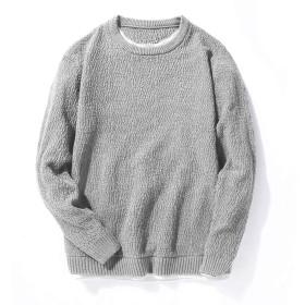 oolivupf ニット メンズ セーター 綿100% 裏起毛 無地 大きいサイズ 防寒 無地 春/秋/冬(702 gray XL)