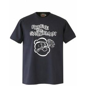 (ヒューストン) HOUSTON・ミリタリーTシャツ Houston キャラクターデザインTシャツPOPEYE (L, NAVY)
