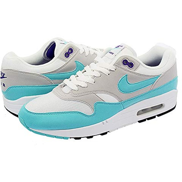 [ナイキ] AIR MAX 1 ANNIVERSARY WHITE/AQUA/NEUTRAL GREY/BLACK_在庫_US10-28.0cm [並行輸入品]
