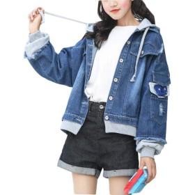 BeiBang(バイバン)デニムジャケット レディース ゆったり ジージャン 春服 アウター 韓国ファッションジャンパー Gジャン ストリート系(12グレー)