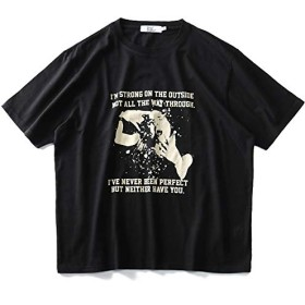 DANIEL DODD ロック プリント 半袖 Tシャツ azt-1902124 大きいサイズ メンズ【990.ブラック-6L】