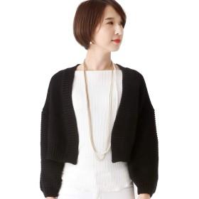 プールヴー カーディガン 長袖 羽織り レディース ブラック Mサイズ 9号 wn0056