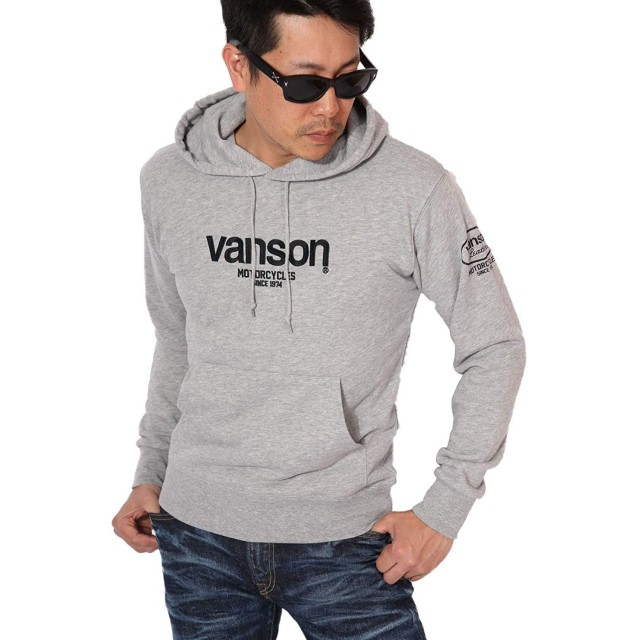 (バンソン) VANSON 定番ロゴ プルオーバーパーカー 当店別注 ACVA-901 スタンダードサイズ グレー L