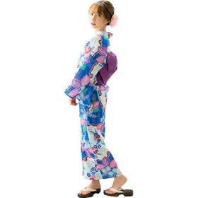 (ディータ) Dita 本格 女性 浴衣 すぐにお出かけフルセット 浴衣本体(ゆかた)・作り帯(つくりおび)・下駄(ゲタ) の基本3点セット+腰ひも(着付け紐)+着付けスタイルブック(冊子) の計5点 フリーサイズ 藤の桜浪漫