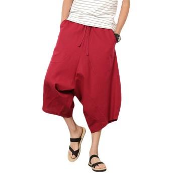 サルエルパンツ メンズ ショートパンツ 袴パンツ 綿麻 七分丈 夏 ズボン ワイドパンツ ゆったり 大きいサイズLレッド
