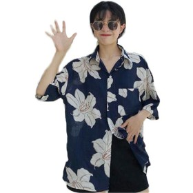 TENGDA アロハ シャツ ブラウス レディース プリント トラベル ビーチ Vネック 薄手 スリム 半袖 ゆったり 大きいサイズ シンプル 浜辺 ハワイシャツ ユニセックス ファッション 夏 ネイビーF