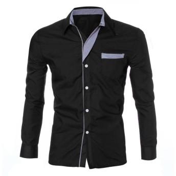 DAISUKI メンズロング スリーブ 格子 ワイシャツ ワイシャツ ファッションメンズ高級ロングスリーブカジュアルスリムフィットスタイリッシュなドレスシャツ (L, ブラック)