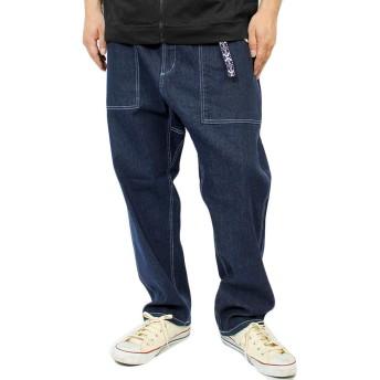 ベイカーパンツ メンズ ベルト付き ストレッチ ユーズド加工 ゆったり クライミング デニムパンツ L ワンウォッシュ(2)