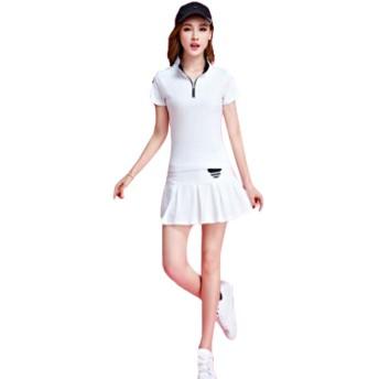 (グードコ) ジャージ 上下セット レディース ポロシャツ ゴルフウェア スポーツウェア 半袖シャツ スカート 大人気 ホワイトM