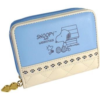[スヌーピー] 財布 二つ折り財布 カード入れ ジッパー レディース 大人 向け キルティング キュート キャラクター ジャバラ かわいい サイフ (ブルー)