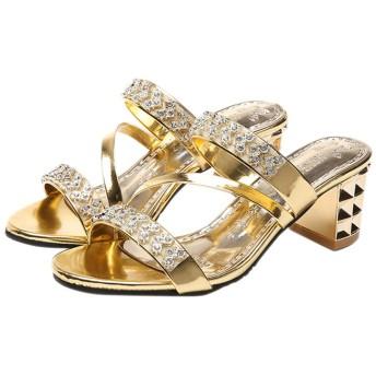 Fashion maker(F&M) ミュール レディース ミュールサンダル キラキラ オープントゥ 太ヒール 歩きやすい おしゃれ 美脚 大きいサイズ 全3色 (24.5cm(FR39), ゴールド)