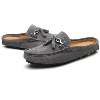 [ラブ店] レザーサンダル メンズ 人気 スリッポン ビジネス サボサンダル かかとなし 紳士靴 事務所履き 職場用 夏 通気 蒸れにくい 防臭抗菌 オフィスサンダル 27cm グレー