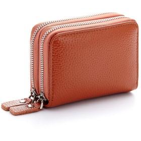 財布 小銭入れ 小型バッグ メンズ レディース 大容量 コインケース カードケース ジッパー オルガン式 イエロー