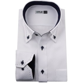 FLiC ワイシャツ メンズ 長袖 形態安定 襟高 Mサイズ flm-l09-m-80-db1304