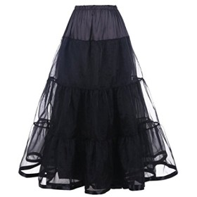 DaisyFormals レディース 足首の長さ チュチュスカート フリルいっぱい ふわふわパニエ 3段パニエ カラースカート- Black,SM