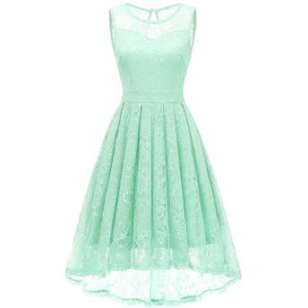 Gardenwed 結婚式ドレス ひざ丈 フィッシュテール レースドレス お呼ばれ 裏地あり ノースリーブ Aライン フォーマル ワンピース ミント XLサイズ