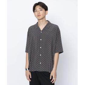[センスオブプレイス] ワイシャツ コモンガラシャツ(5分袖) メンズ BLACK M