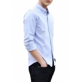 LOYEE yシャツ 長袖シャツ メンズ オックスフォード ボタンダウン ワイシャツ 無地 春 秋 スリム ビジネス カジュアル M04 (L, #3)