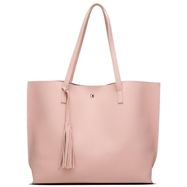 Leole(レオーレ) トートバッグ 柔らかい ビジネスバッグ リクルートバッグ フォーマルバッグ A4対応 大容量 就活バッグ フリンジ タッセル 自立バッグ 通学 通勤 レディースバッグ レザー (ピンク)