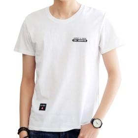 EASTEMPO Tシャツ メンズ 半袖 無地 100%綿 薄手 ゆったり おしゃれ おおきいサイズ (ホワイト, XL)