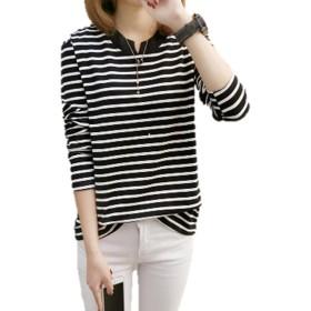 (プティ・エヌ) petit・N 長袖Tシャツ 首元ゆったり シンプルデザイン 白黒ボーダー (XL, 白黒ボーダー(黒))