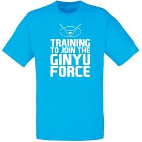(ギニュー特戦隊に入る為にトレーニング) Training To Join The Ginyu Force, メンズ プリント Tシャツ - ブルー/白 L = 104-109 cm