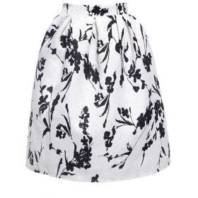 [PlaisteL] ふんわり ジャカード プリント スカート (モノトーン) jacquard print formal casual middle skirt ladies women spring summer autumn winter 花 柄 白 黒