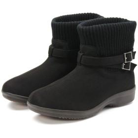 [セレブル] (アールプレミアム) R-PREMIUM ショートブーツ レディース ローヒール 履き口ニット 柔らかい 軽量 ブラック スエード 23cm