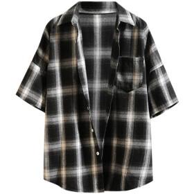 夏のファッション半袖チェック柄のステッチカジュアルメンズシャツジャケットトップブラウス 小さな格子縞のシャツ シャツコート
