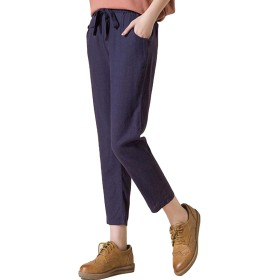 DeBangNi レディース クロップドパンツ 七分丈 夏服 綿麻 薄手 ハロンパンツ サルエルパンツ 無地 調整紐 シンプル カジュアル ワイドパンツ ゆったり コンフォート 韓国風 ファッションブルーN5