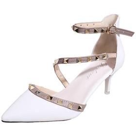ストラップ ベルト付き パンプス ポインテッドトゥ 美脚 ブラック ホワイト ピンク レッド 5.5cm ハイヒール 痛くない 歩きやすい 22.0cm~24.5cm レディース靴 オフィス 通勤 お呼ばれ