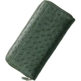 グリーン 緑 オーストリッチ ハーフポイント メンズ 長財布 ラウンドファスナー : キプロス