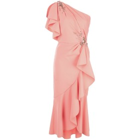 Marchesa Notte フローラル ワンショルダードレス - ピンク