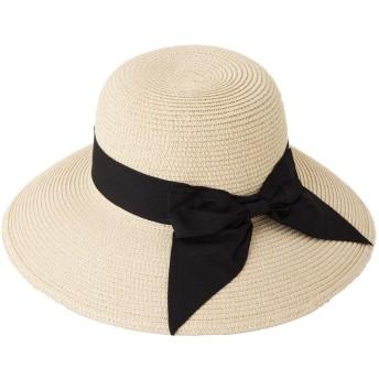 折りたためる UV 麦わら帽子 レディース