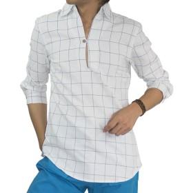 imp 綿麻 パナマ織り リネンシャツ 7分袖 プルオーバー カプリシャツ (Sサイズ, ホワイトウィンドウペン)