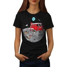 Wellcoda 宇宙 キャンプ 婦人向け ブラック L Tシャツ