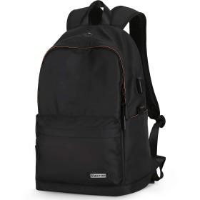 リュックサック 黒 バックパック カジュアルバッグ 15.6インチpc収納可能 男女兼用 軽量(450g) USB充電可能 通勤 通学 旅行用 バック 撥水加工 (ブラック)